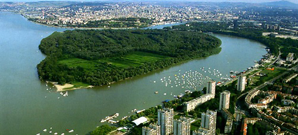 Great War Island in Belgrade from the air